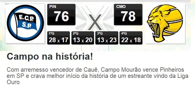 """O site na Liga Nacional de Basquete destaca nesta terça-feira que Campo  Mourão tem o """"melhor início da história de um estreante vindo da Liga Ouro"""". a10820b829a0b"""